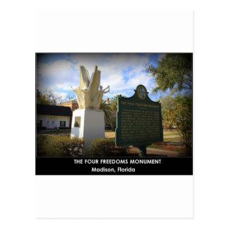 DAS VIER FREIHEITS-MONUMENT - MADISON, FL POSTKARTE