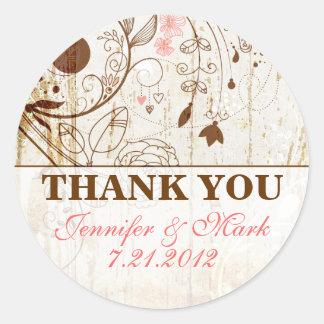Das Vintage Blumen Shabby Chic danken Ihnen Runder Sticker