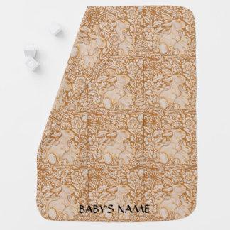 Das Vintage Häschen-Kaninchen-Baby-Decken-Gold Kinderwagendecke
