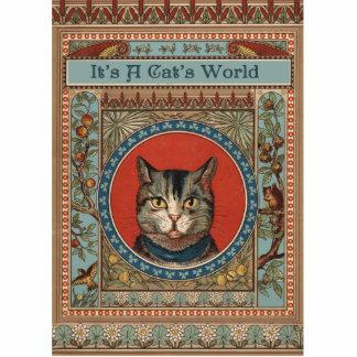 Das Vintage Leben der Katze für Kitty-Liebhaber Freistehende Fotoskulptur