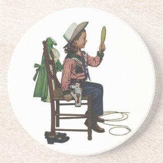 Das Vintage Mädchen-Cowgirl, das Spiegel ist sie Untersetzer