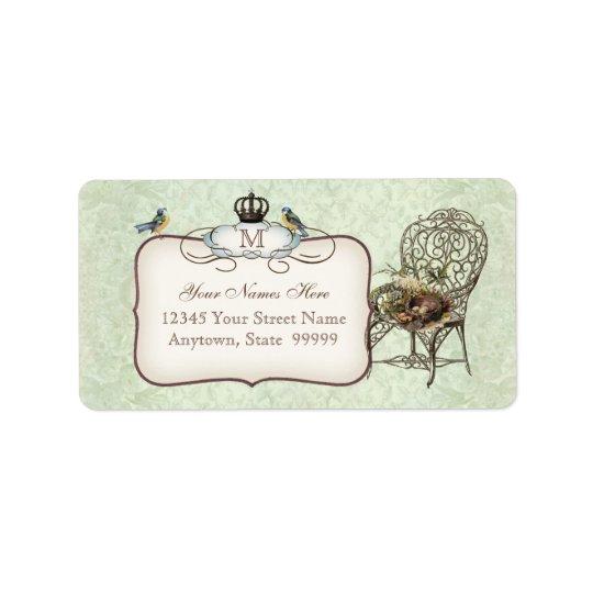 Das Vintage Nest der Vögel im Stuhl, Wedding Adress Aufkleber