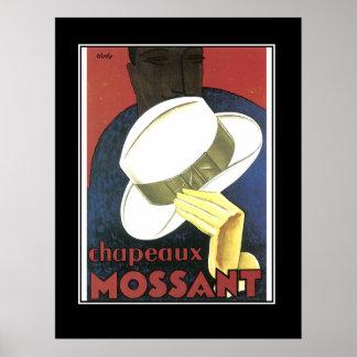 Das Vintage Plakat des weißen Hutes