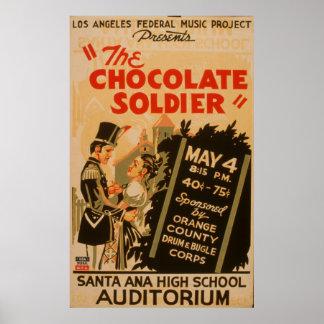 Das Vintage WPA Plakat des Schokoladen-Soldat-