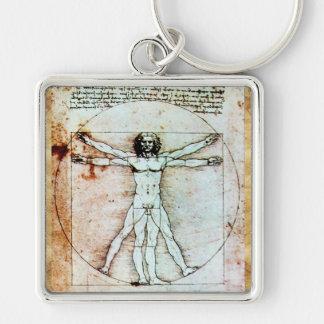 Das VITRUVIAN MANN Antiken-Pergament Schlüsselanhänger