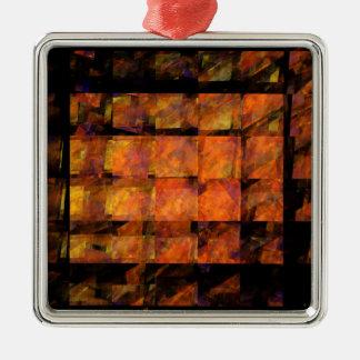 Das Wand-abstrakte Kunst-Quadrat Silbernes Ornament