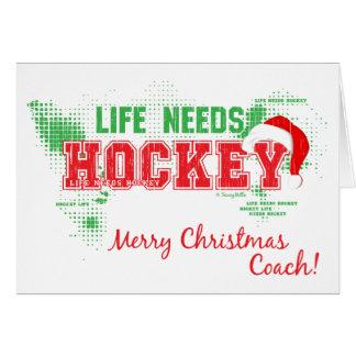 Das Weihnachtsleben benötigt Hockey-Zug-Gruß-Karte Karte