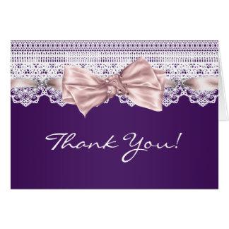 Das weiße lila Spitze-Rosa danken Ihnen Karten
