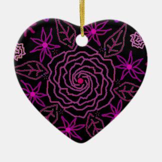 Das Wesentliche der Rose Keramik Herz-Ornament