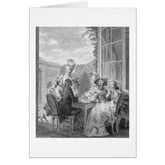 Das Whist Party, 1783, graviert durch Jean Dambrun Karte