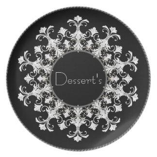 """Das Wreath_Black-White """"der eleganten Melaminteller"""