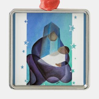 Das Wunder von Weihnachten Quadratisches Silberfarbenes Ornament
