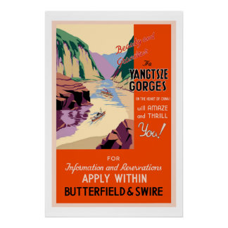 Das Yangtsze sättigt Vintages Reise-Plakat