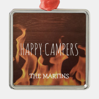 Das zurückgezogene Campings-glückliche Silbernes Ornament
