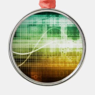 Daten-Schutz und Internet-Sicherheits-Scannen Rundes Silberfarbenes Ornament