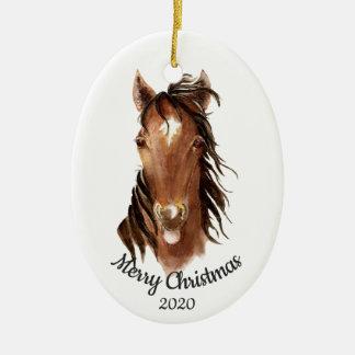 Datierte Weihnachtsbrauch-Aquarell-Pferdehaltung Keramik Ornament