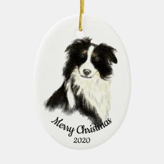 Datierter WeihnachtsAquarell-Border-Collie-Hund Keramik Ornament