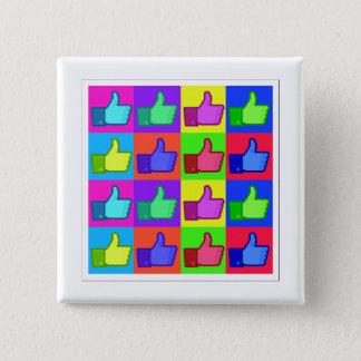 Daumen oben! quadratischer button 5,1 cm