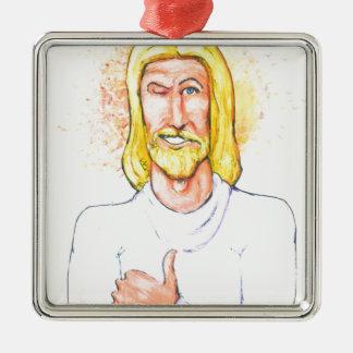 Daumen up Jesus Silbernes Ornament