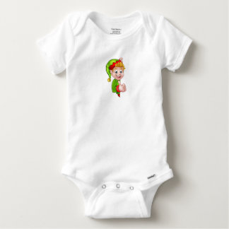 Daumen Up Weihnachtself-Cartoon-Charakter Baby Strampler