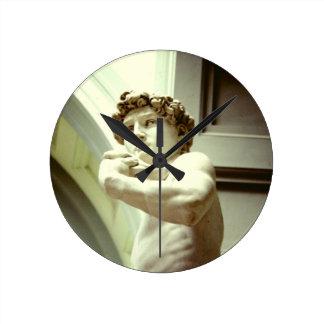 David - das ewige Bild von Florenz Runde Wanduhr