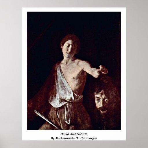 David und Goliath durch Michelangelo DA Caravaggio Poster