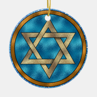 Davidsstern Shalom - SRF Rundes Keramik Ornament