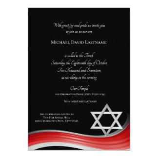 Davidsstern Steigungs-rotes Bar Mitzvah Karte