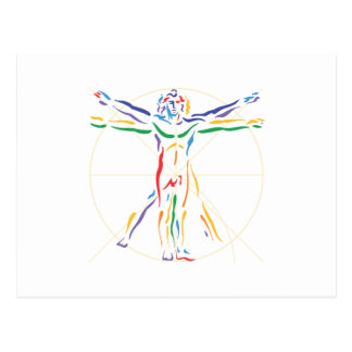 DaVinci Anatomie-Mann in Chakra Farben Postkarte