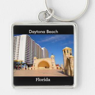 Daytona Beach Florida Silberfarbener Quadratischer Schlüsselanhänger