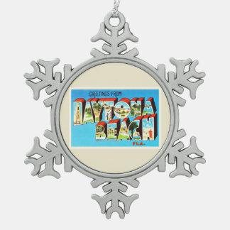 Daytona Beach Florida Vintage Reise-Andenken Schneeflocken Zinn-Ornament
