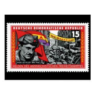 DDR-Briefmarke gedenkender Hans Beimler Postkarte