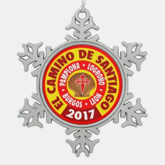 De Santiago 2017 EL Camino Schneeflocken Zinn-Ornament