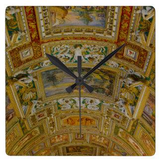 Decke im Vatikan-Museum in Rom Italien Quadratische Wanduhr