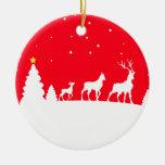 deer family rundes keramik ornament