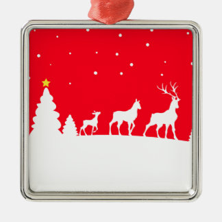 Deer in winter landscape silbernes ornament