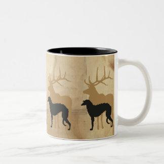Deerhound & deer zweifarbige tasse