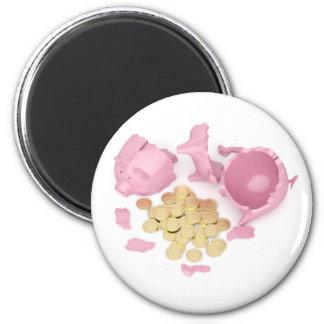 Defekte piggy Bank Runder Magnet 5,7 Cm