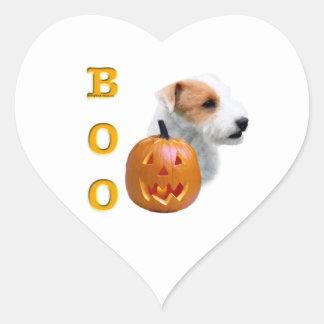 Defekter Mantel Pastor-Russell Terrier Halloween Herz-Aufkleber