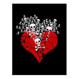 Defektes Herz mit den Schädeln Postkarte