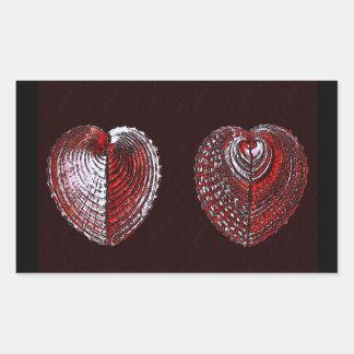 Defektes Herz-Muscheln Rechteckiger Aufkleber