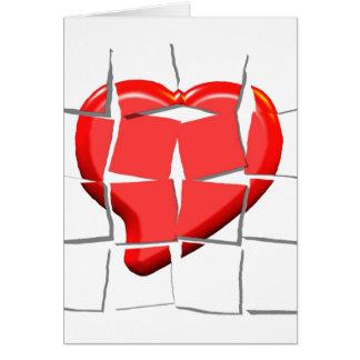 Defektes Herz-Puzzlespiel-Gruß-Karte Karte