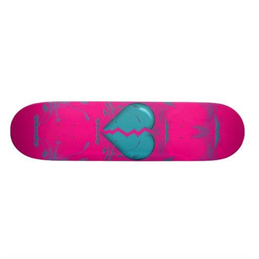 Defektes Herz/Stammes- Skateboard (lila u. Aqua) Individuelle Decks