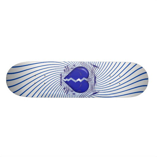Defektes Herz u. Stammes- Grafik: Blau: Skateboard Personalisierte Skateboarddecks