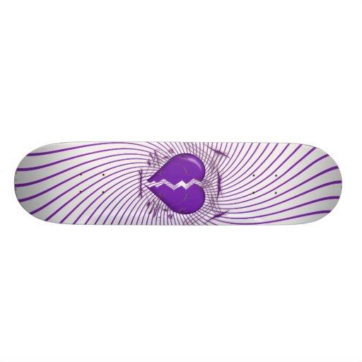 Defektes Herz u. Stammes- Grafik: Lila: Skateboard Individuelle Skateboarddecks