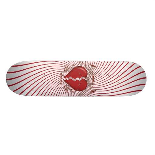 Defektes Herz u. Stammes- Grafik: Rot: Skateboard Individuelles Skateboard