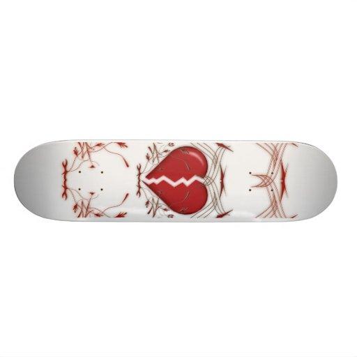Defektes Herz u. Stammes- Grafik: Rot: Skateboard Personalisiertes Deck