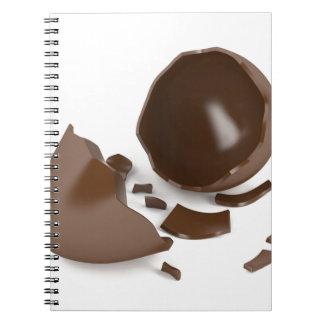 Defektes Schokoladenei Spiral Notizblock