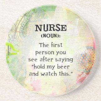 Definition einer Krankenschwester Sandstein Untersetzer