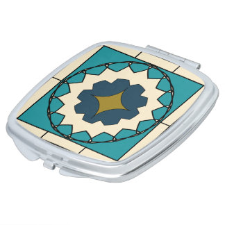 Deko-blauer Fliesen-Entwurfs-Vertrags-Spiegel Taschenspiegel